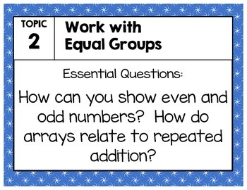Objective Posters - enVision Math Grade 2 Topic 2 - Work with Equal Groups