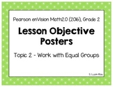Objective Posters - enVision Math Grade 2 Topic 2 - Work w