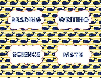 Objective Signs - Nautical Theme - Whales - reading, math, science, writing