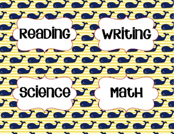 Objective Signs - Nautical Theme - Whales - reading, writing, math, science