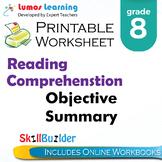 Objective Summary Printable Worksheet, Grade 8
