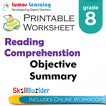 Objective Summary Printable Worksheet, Grade 8