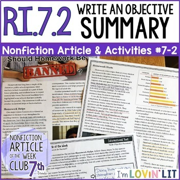 Objective Summary RI.7.2 | Nonfiction Article + Activity Pack #7-2