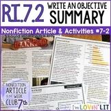 Objective Summary RI.7.2 | Should Homework Be Banned? Arti
