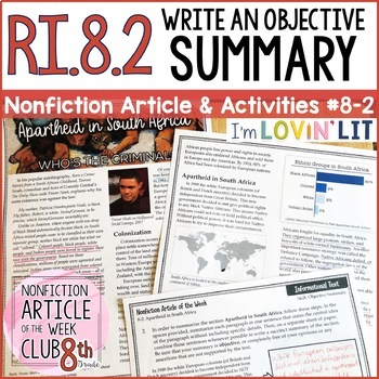 Objective Summary RI.8.2 | Nonfiction Article + Activity Pack #8-2