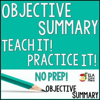 Objective Summary ~ Teach It!  Practice It! No Prep!