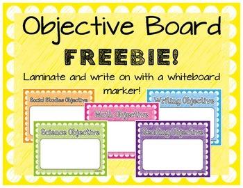 Objective Writing Board FREEBIE!!
