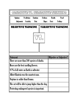 Objective vs. Subject Graphic Organizer