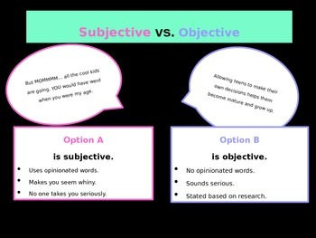 Objective vs. Subjective in an Argumentative Essay