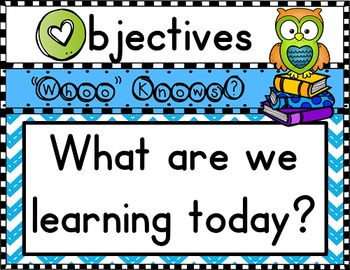 Objectives Board: Owl Theme