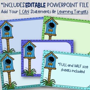Objectives Board EDITABLE - Birds in Blue Classroom Decor