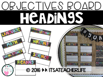EDITABLE | Objectives Board Headers | Chalkboard & Brights Themed