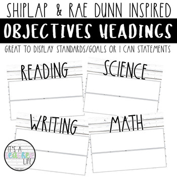 Objectives Board Headers | Shiplap & Rae Dunn Inspired