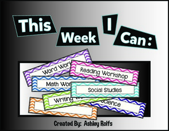 Objectives Board-This Week I Can...