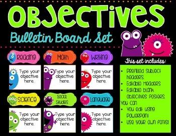 Objectives Bulletin Board Bundle {Monster Edition}
