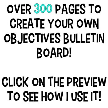 Learning Objectives | Bulletin Board | Objectives Board | Classroom Decor