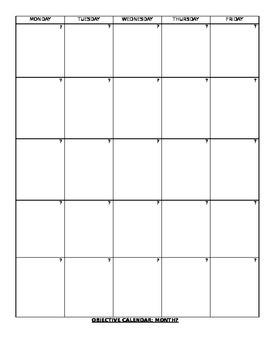 Template: Objectives Calendar