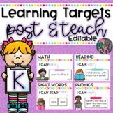 Kindergarten Learning Targets