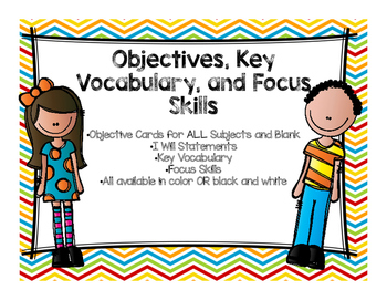 Objectives, Key Vocabulary, and Focus Skills Display Bulle