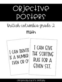 Objectives Posters - British Columbia Gr 2 Math