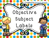 Objectives Subject Labels for Bulletin Board