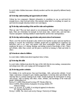 Objectives of Teaching Social Studies in Early Childhood Education