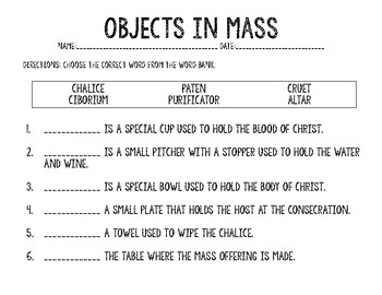 Catholic Mass Vocabulary