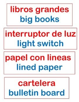 Objects in the Classroom's labels in Enghish and Spanish