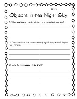 Objects in the sky: Sun, Moon, Stars