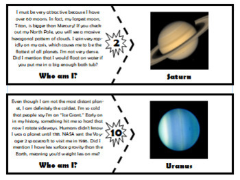 """Objects of the Solar System """"Who am I?"""" Matching Activity! Perfect for Centers!"""