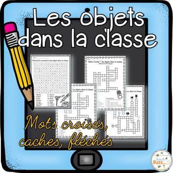 Objets dans la classe - mots croisés, cachés, fléchés - Fr
