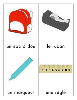 Objets de la classe/Classroom Objects Flashcards (French)