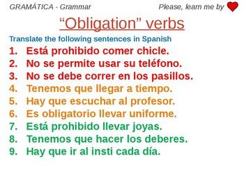 Obligation verbs - Grammar Work Spanish