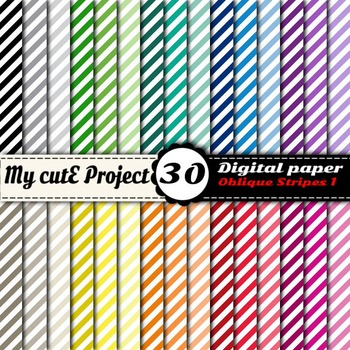 Oblique Stripes 1 -DIGITAL PAPER - Instant Download - Scrapbooking - A4 & 12x12""