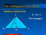 Oblique Triangle : The Ambiguous case (SSA)