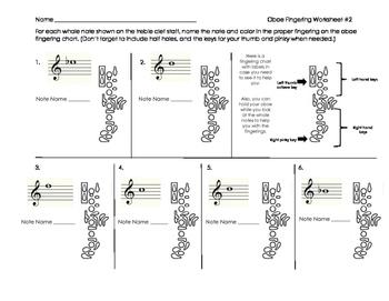 Oboe Fingering Worksheet 2 for Band Beginners