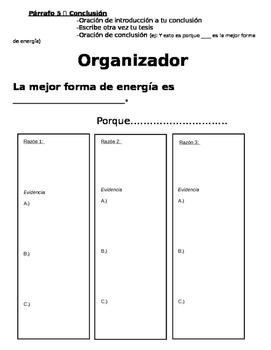 Obra persuasiva sobre tipos de energía- Persuasive Writing on Energy