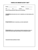 Observation Form ABC To Record Child's Behavior-Spanish