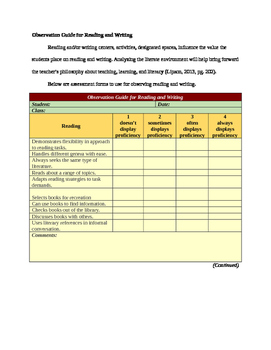Observation Guide for Reading and Writing