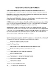 Observation, Inference, Prediction and Measurement Worksheet