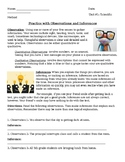 Observation / Inference Worksheet