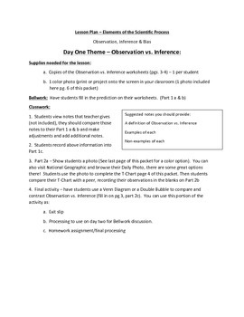 Observation, Inference and Bias - Lesson Plan & Student Wo