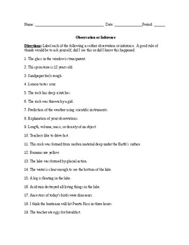 Observation Inference Worksheet Word Doc By Nicolina D Agosto Tpt