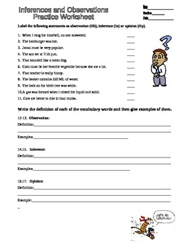 Observation Inferences Scientific Method Practice worksheet