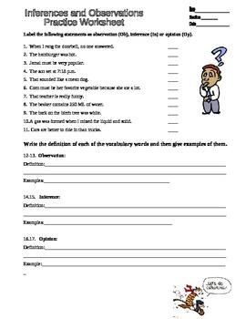 Observation Inferences Scientific Method Practice worksheet