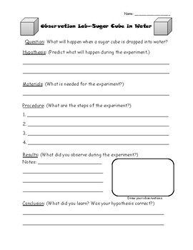 Observation Lab Planning Sheet--Sugar Cube in Water