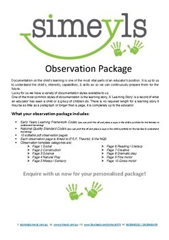 Observation Package, Linked to EYLF, NQF, & Theory