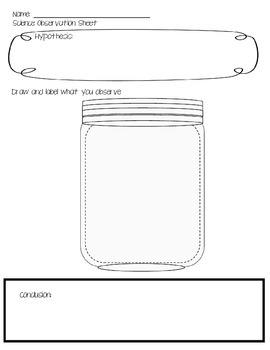 Jar Observation Sheet for Science