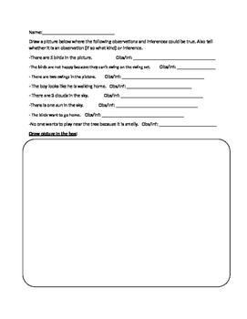 Observation Vs. Inference Worksheet