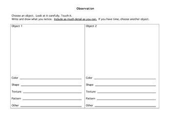 Observation Worksheet by Beth Rubenstein   Teachers Pay Teachers